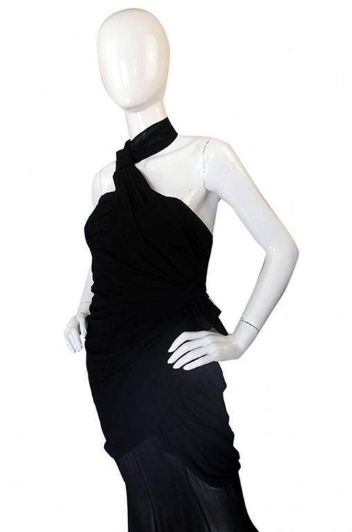 Rare 1980s Thierry Mugler One Shoulder Silk & Sheer Dress 3