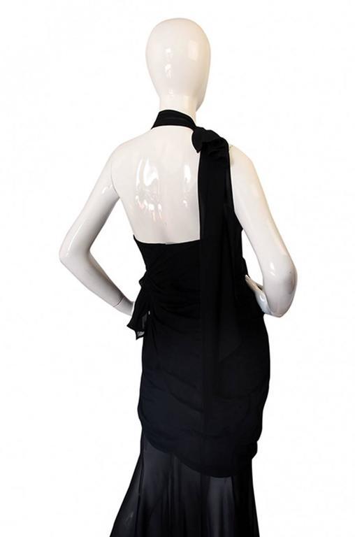 Rare 1980s Thierry Mugler One Shoulder Silk & Sheer Dress 5