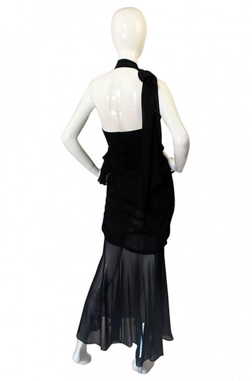 Rare 1980s Thierry Mugler One Shoulder Silk & Sheer Dress 2