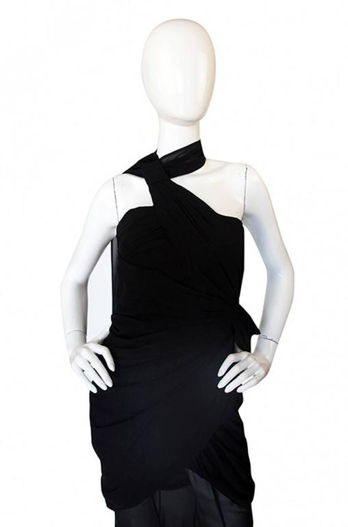 Rare 1980s Thierry Mugler One Shoulder Silk & Sheer Dress 6
