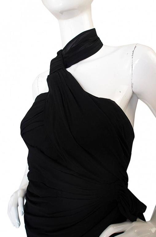 Rare 1980s Thierry Mugler One Shoulder Silk & Sheer Dress 7