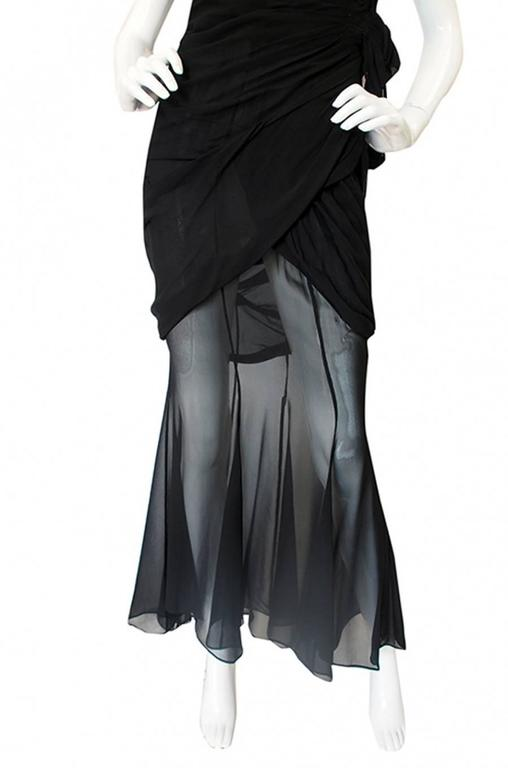 Rare 1980s Thierry Mugler One Shoulder Silk & Sheer Dress 4