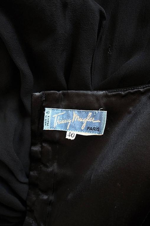 Rare 1980s Thierry Mugler One Shoulder Silk & Sheer Dress 8
