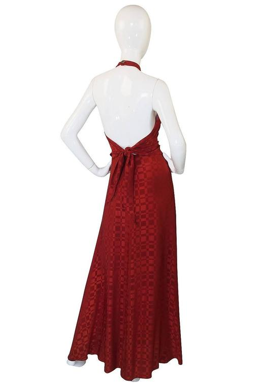 Red Rare 1960s Burnt Amber Silk Backless Annacat Dress For Sale
