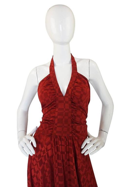 Women's Rare 1960s Burnt Amber Silk Backless Annacat Dress For Sale
