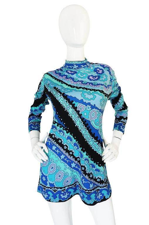 1970s Blue Print Leonard Silk Jersey Tunic or Mini Dress 4