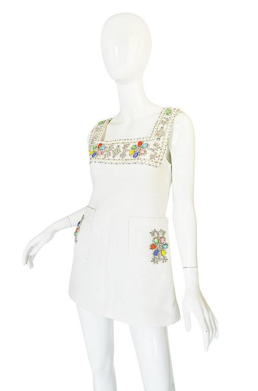 1960s Beni Salvadori Jewelled Couture Tunic or Mini Dress In Excellent Condition For Sale In Toronto, ON