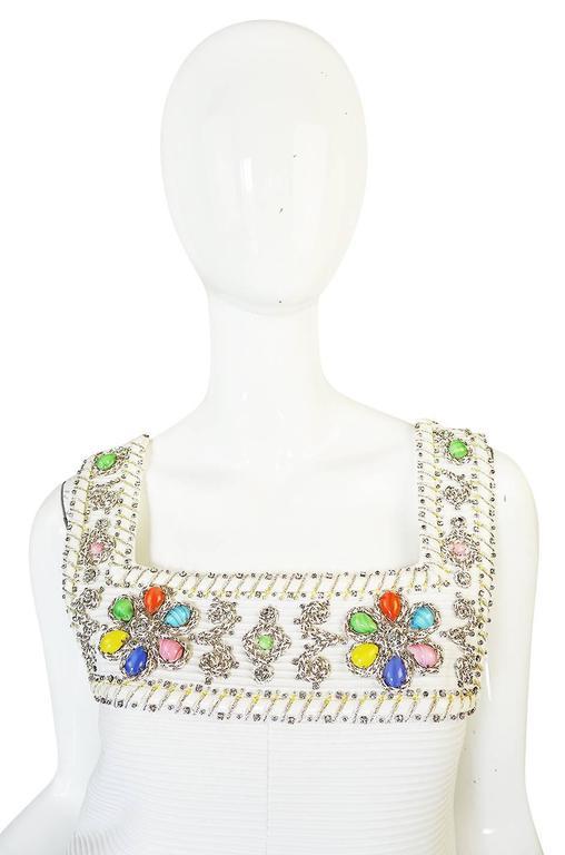 1960s Beni Salvadori Jewelled Couture Tunic or Mini Dress For Sale 3
