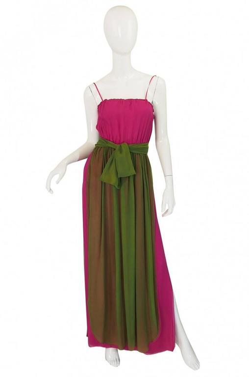 Striking 1970s James Galanos Pink Silk Chiffon Dress w Overlay 3