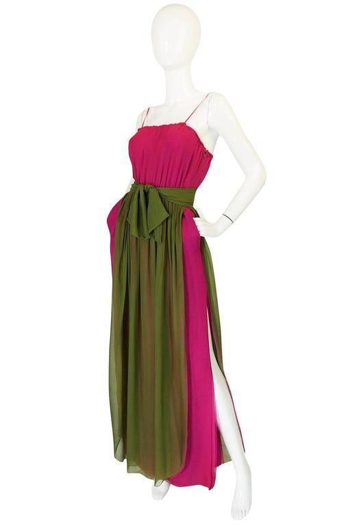 Striking 1970s James Galanos Pink Silk Chiffon Dress w Overlay 4