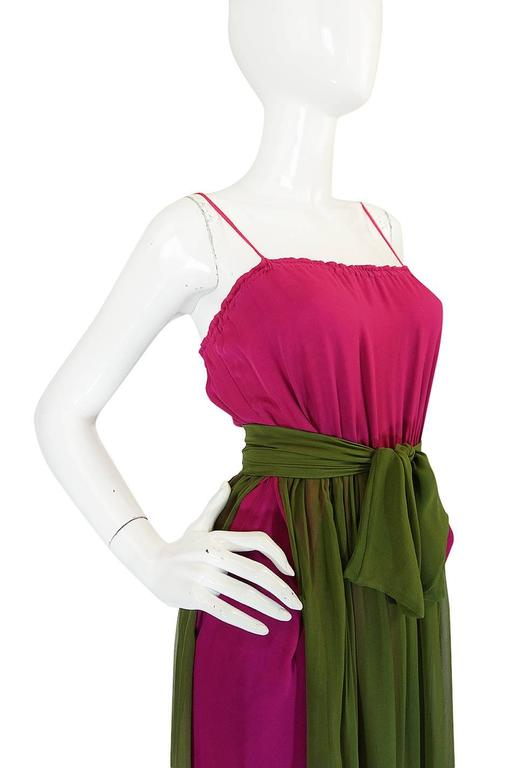 Striking 1970s James Galanos Pink Silk Chiffon Dress w Overlay 6