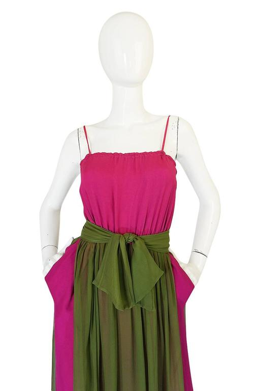 Striking 1970s James Galanos Pink Silk Chiffon Dress w Overlay 5