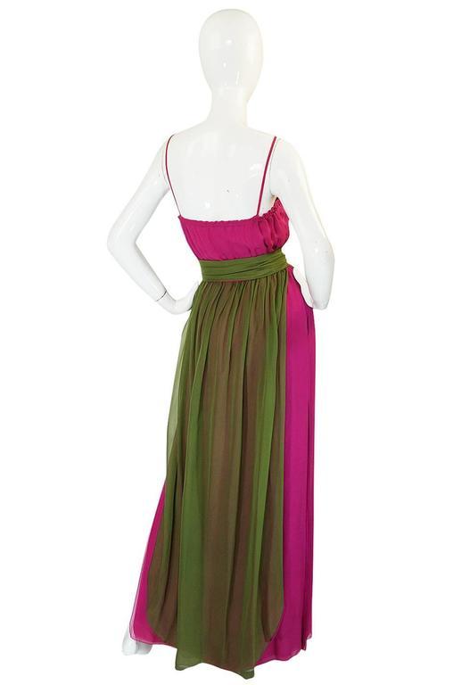 Striking 1970s James Galanos Pink Silk Chiffon Dress w Overlay 2