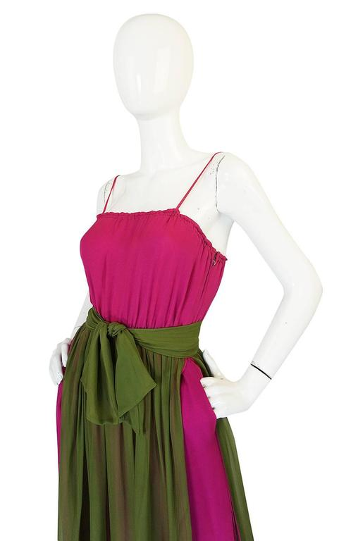 Striking 1970s James Galanos Pink Silk Chiffon Dress w Overlay 7