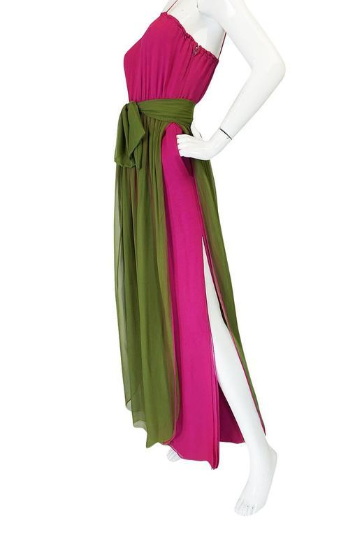 Striking 1970s James Galanos Pink Silk Chiffon Dress w Overlay 8