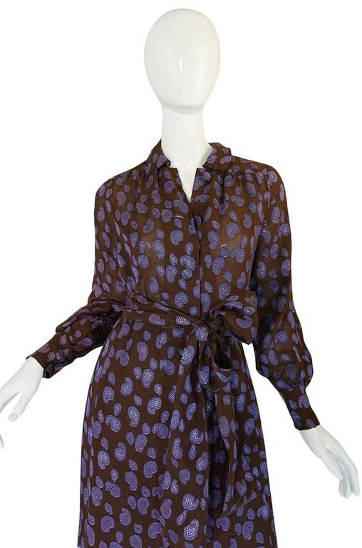 1970s Givenchy Purple & Chocolate Silk Applique Dress In Good Condition For Sale In Rockwood, ON