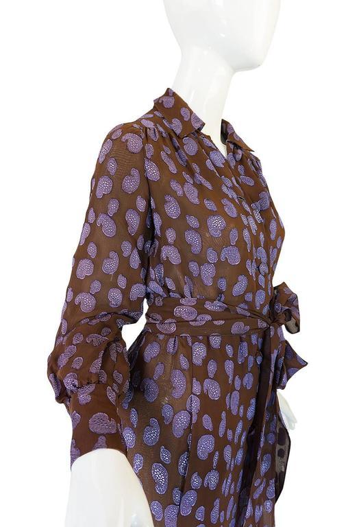 Women's 1970s Givenchy Purple & Chocolate Silk Applique Dress For Sale