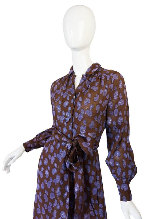 1970s Givenchy Purple & Chocolate Silk Applique Dress For Sale 1
