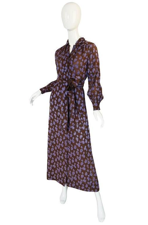 Black 1970s Givenchy Purple & Chocolate Silk Applique Dress For Sale