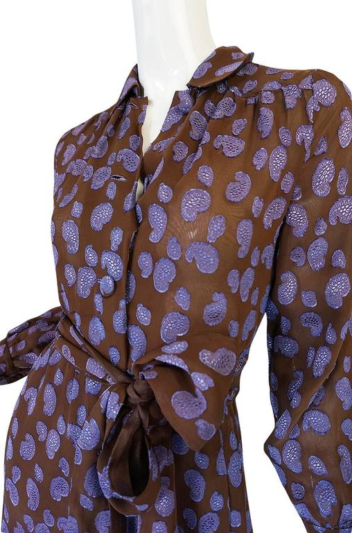 1970s Givenchy Purple & Chocolate Silk Applique Dress For Sale 2