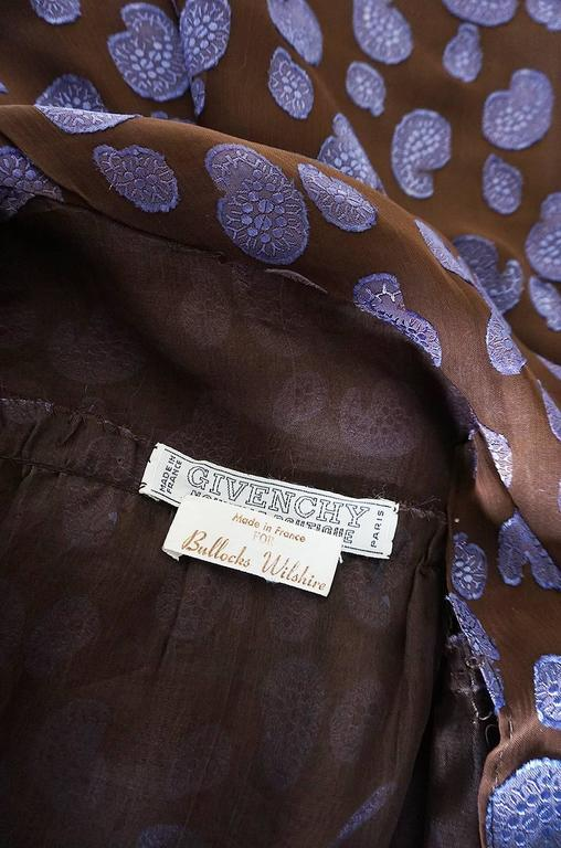 1970s Givenchy Purple & Chocolate Silk Applique Dress For Sale 5