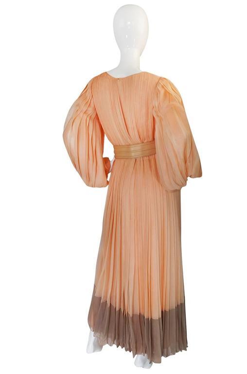 c1961 Peach Silk Chiffon Softly Pleated Galanos Dress 2