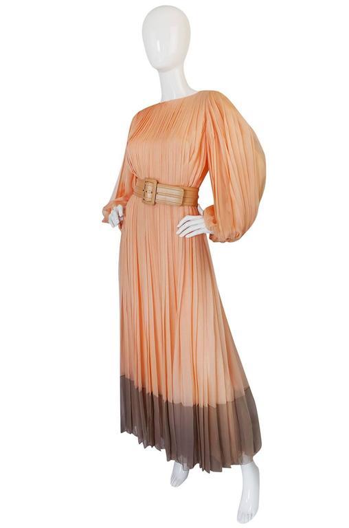 c1961 Peach Silk Chiffon Softly Pleated Galanos Dress 3