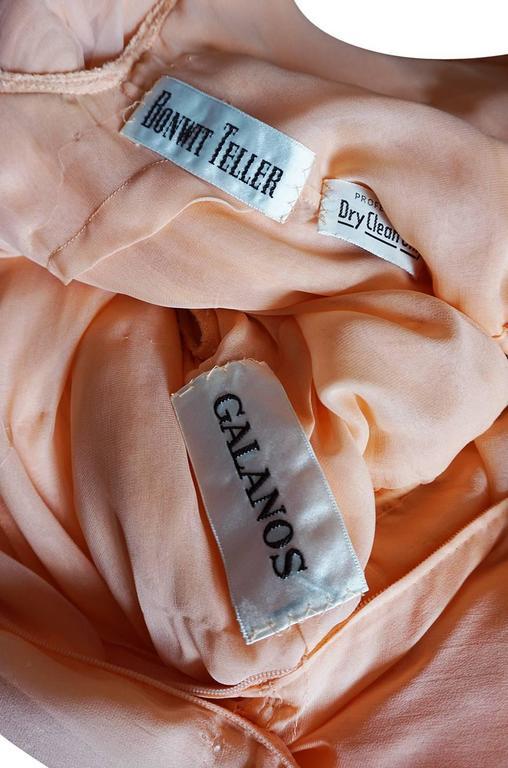 c1961 Peach Silk Chiffon Softly Pleated Galanos Dress 8