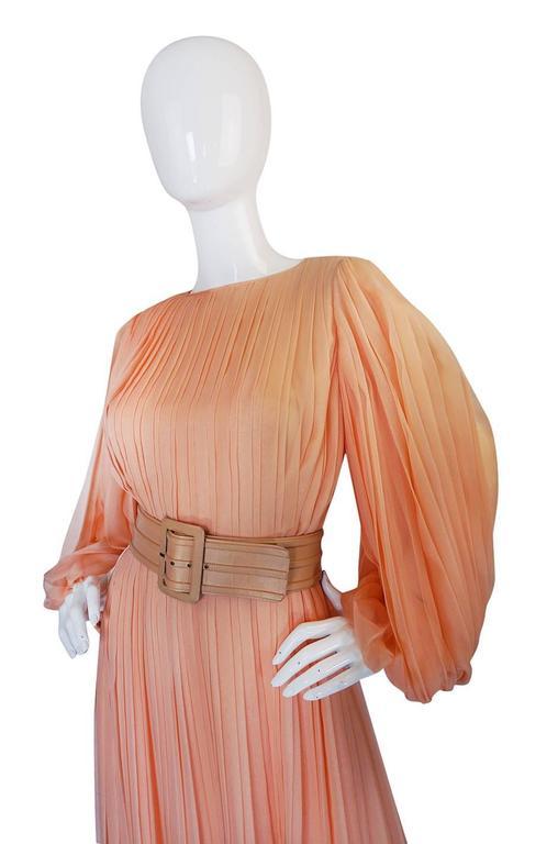 c1961 Peach Silk Chiffon Softly Pleated Galanos Dress 4