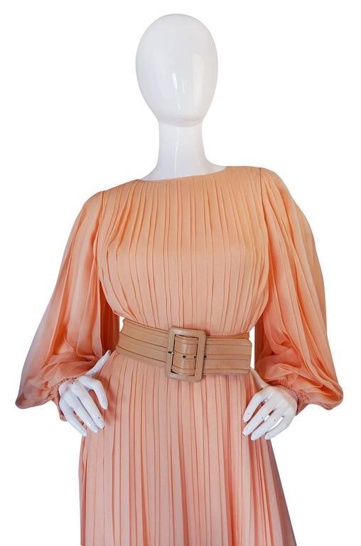 c1961 Peach Silk Chiffon Softly Pleated Galanos Dress 6