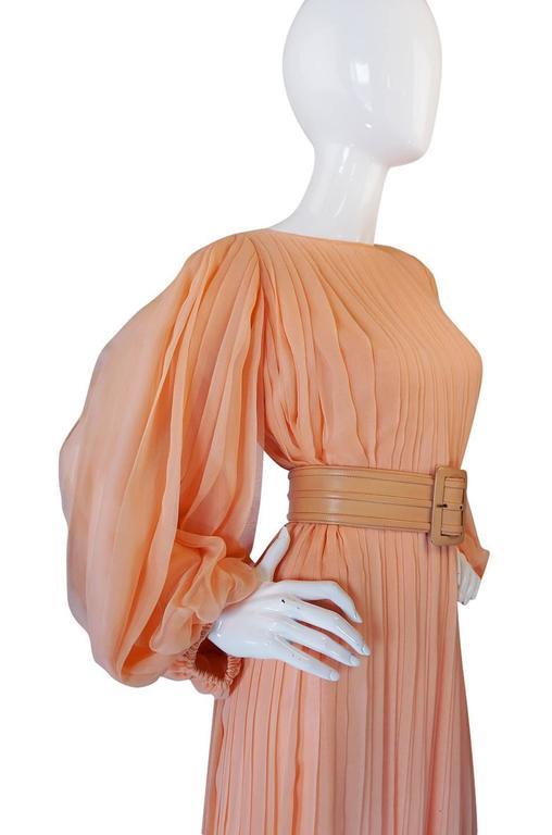 c1961 Peach Silk Chiffon Softly Pleated Galanos Dress 5
