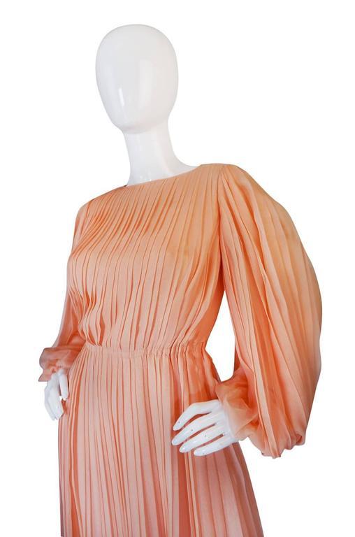 c1961 Peach Silk Chiffon Softly Pleated Galanos Dress 7