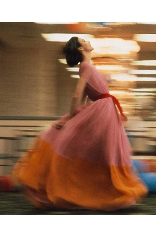 c1961 Peach Silk Chiffon Softly Pleated Galanos Dress 10