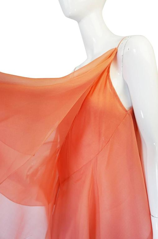 1980 82 Peach Silk Organza Ruffled Halston Spiral Gown At