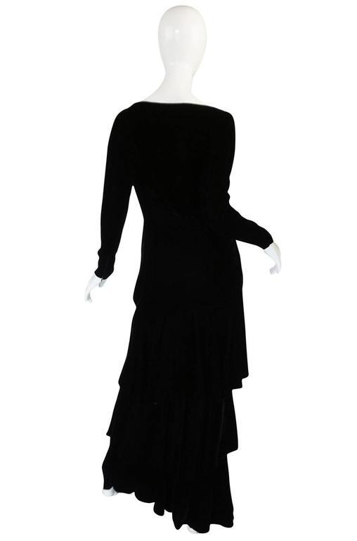 1970s Demi-Couture Black Velvet Tiered Lanvin Dress 2