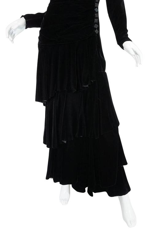 1970s Demi-Couture Black Velvet Tiered Lanvin Dress 8