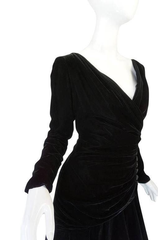 1970s Demi-Couture Black Velvet Tiered Lanvin Dress 6