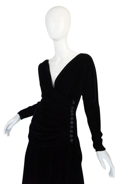 1970s Demi-Couture Black Velvet Tiered Lanvin Dress 5