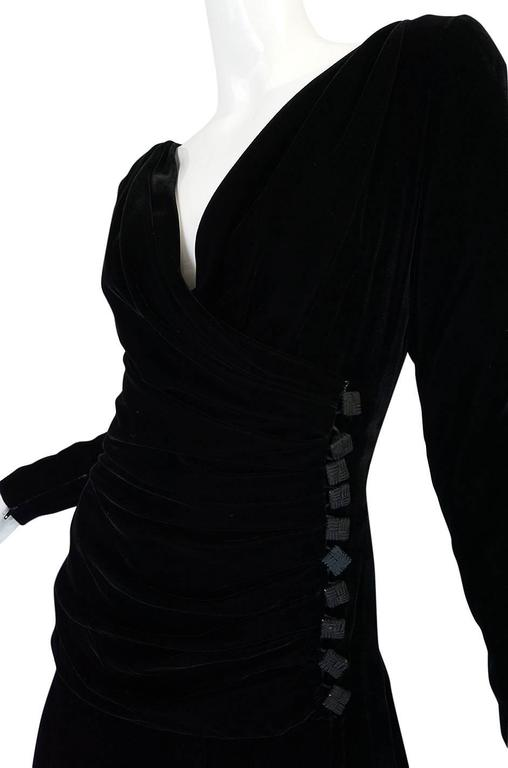 1970s Demi-Couture Black Velvet Tiered Lanvin Dress 7