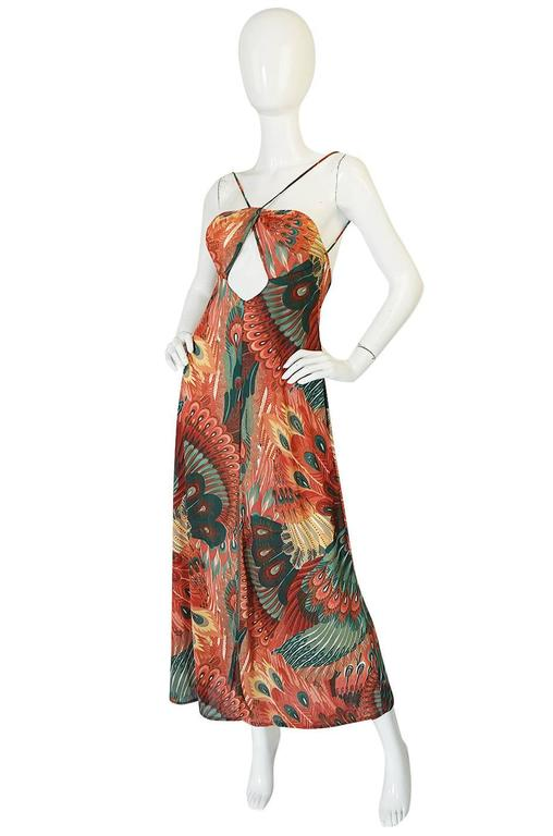 John Kloss Feather Printed Front Cut Out Dress, 1970s  3