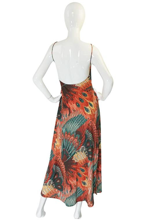 John Kloss Feather Printed Front Cut Out Dress, 1970s  2