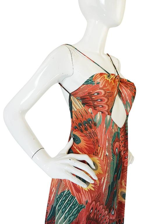 John Kloss Feather Printed Front Cut Out Dress, 1970s  4
