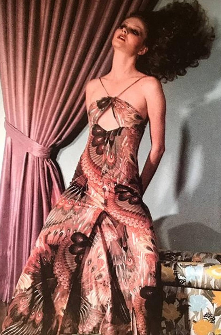 John Kloss Feather Printed Front Cut Out Dress, 1970s  9