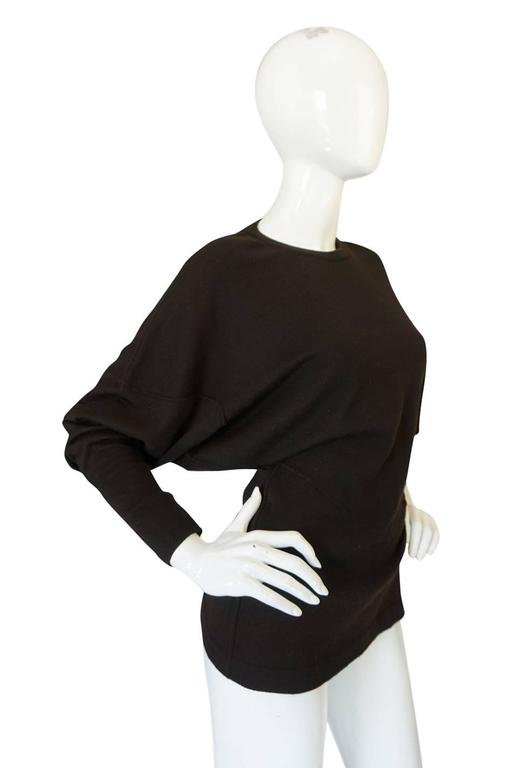 Rare 1980s Chocolate Azzedine Alaia Knit Sweater In Excellent Condition For Sale In Toronto, ON
