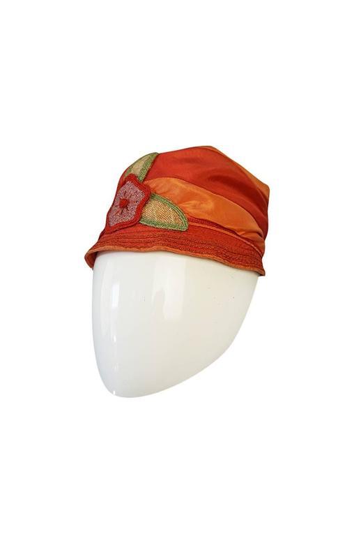 1920s Peach & Coral Silk Floral Applique Flapper Cloche Hat 2