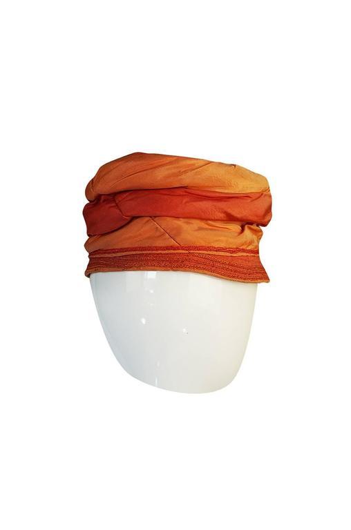 1920s Peach & Coral Silk Floral Applique Flapper Cloche Hat 3