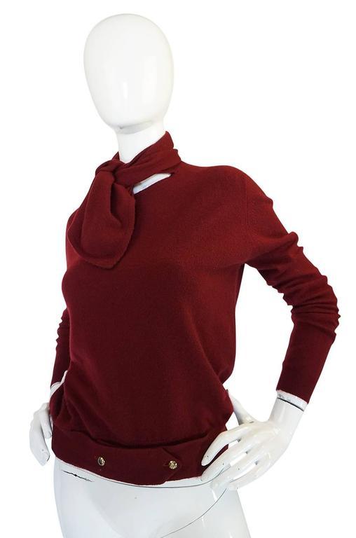 1980s Burgundy 100% Scottish Cashmere Chanel Sweater 3