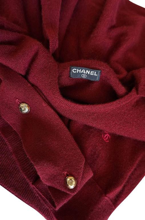 1980s Burgundy 100% Scottish Cashmere Chanel Sweater 6