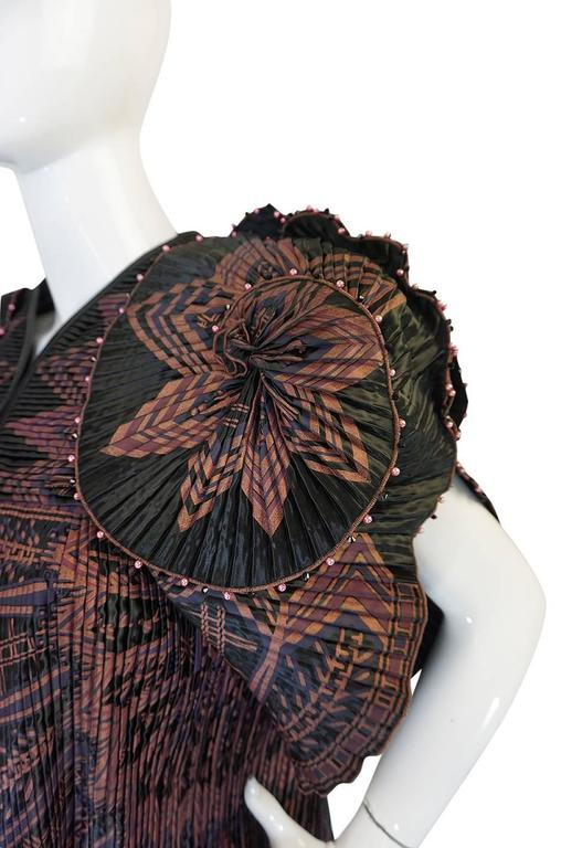 Iconic 1970s Zandra Rhodes Hand Painted Pleated Jacket 5