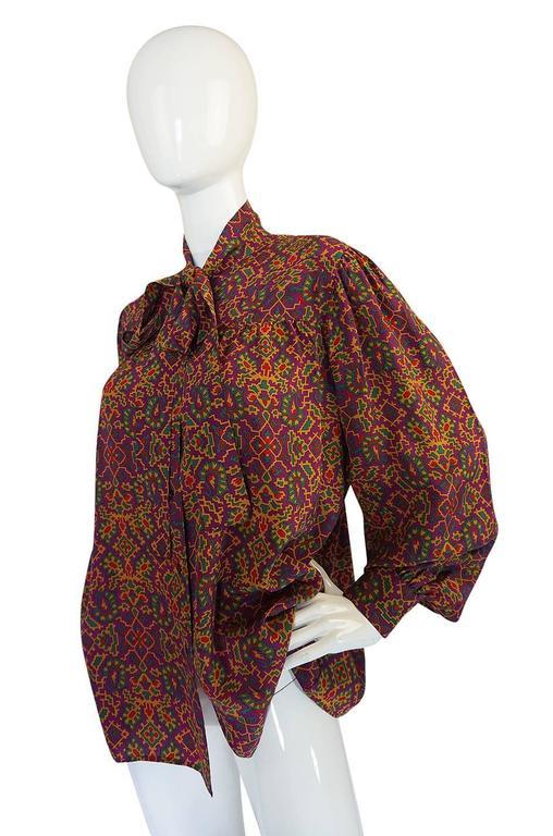 1970s Stunning Silk Print Yves Saint Laurent Top 3